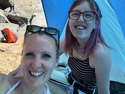 Letting Go me and my daughter at the beach in Cornwall writing for my sobriety and mental health blog My Not So Secret Diary by Claire Hatwell