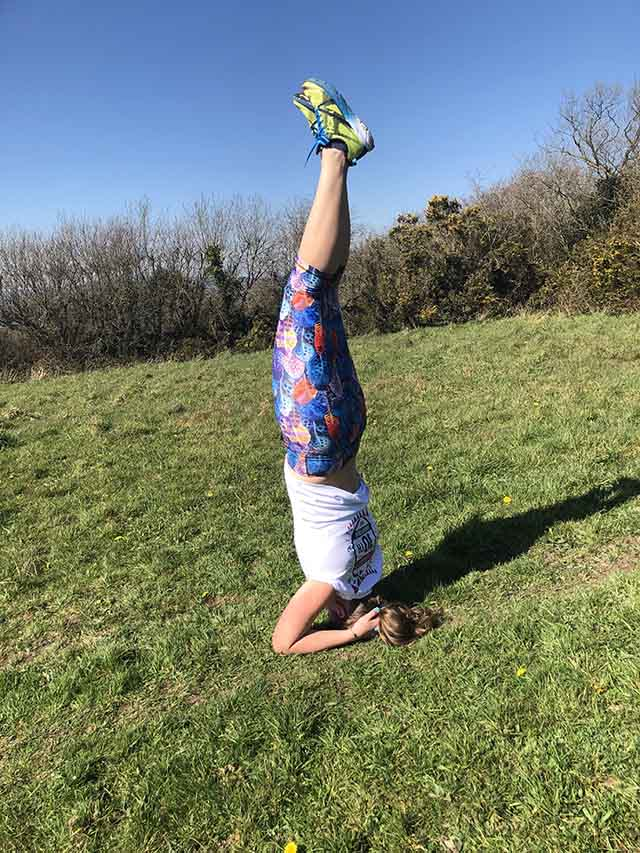 Quarantine (of sorts) standing on my head, headstand in yoga while out on a run during the coronavirus and covid-19 lockdown in Cornwall in the sunshine My Not So Secret Diary