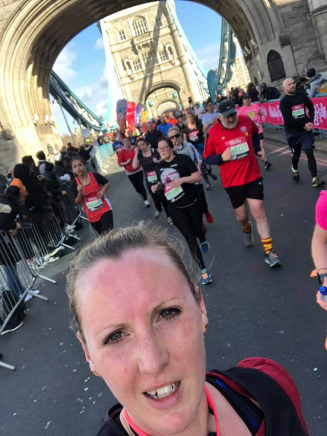 Tower Bridge 1 running the vitality big half selfie on the bridge running for anxiety and addiction recovery blog My Not So Secret Diary