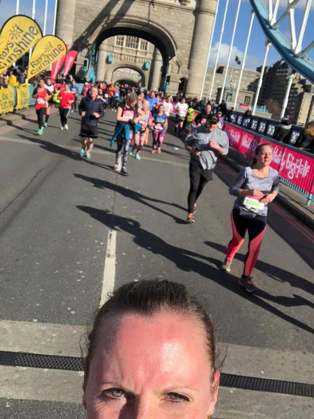 Tower Bridge 2 running the vitality big half selfie on the bridge running for anxiety and addiction recovery blog My Not So Secret Diary