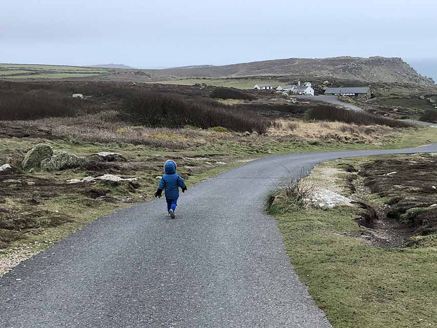 What is the world coming to? Two year old running at Lands End in Cornwall for my blog My Not So Secret Diary