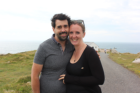 Why Do You Drink So Much? with my husband Lee Hatwell at Lands End writing for my sobriety and mental health blog My Not So Secret Diary by Claire Hatwell